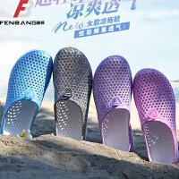 路屋鸟巢鞋女鞋洞洞鞋半拖鞋凉鞋包头透气夏季套脚沙滩鞋花园鞋