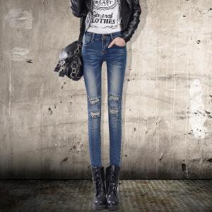 Moderm idea2017新款牛仔铅笔裤女长裤修身显瘦牛仔裤女小脚裤