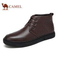 camel 骆驼男靴秋冬新品商务休闲男士皮靴加绒高帮商务男靴