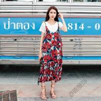 波西米亚连衣裙碎花吊带高腰长裙圆领休闲T恤两件套 大红色 均码