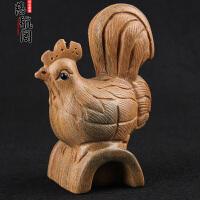 木雕雕刻生肖鸡吉祥物工艺礼品摆件绿檀生肖鸡木雕生肖鸡摆件