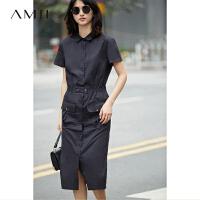 【AMII 超级品牌日】Amii[极简主义]2017夏装新品短袖衬衫领工装风宽松连衣裙11772476