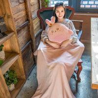 插手被子两用毛绒可爱卡通韩国午睡毯龙猫抱枕毯子三合一暖手抱枕