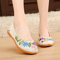 春夏女布鞋女单鞋平跟休闲亚麻绣花鞋舒适女鞋