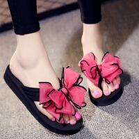 人字拖女夏外穿夹脚厚底沙滩鞋夹趾女高跟凉拖鞋女蝴蝶结花朵韩版