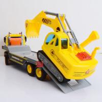 文艺大号工程车 仿真拖车运输车儿童高端益智玩具 带声光惯性