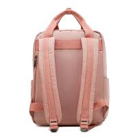 双肩包女防盗电脑包韩版时尚百搭甜甜圈大容量旅游包休闲旅行背包 粉红色 可放14寸电脑