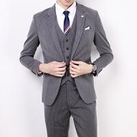条纹西装男套装修身韩版英伦风新郎结婚礼服休闲男士小西服外套