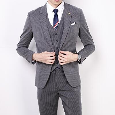 条纹西装男套装修身韩版英伦风新郎结婚礼服休闲男士小西服外套 发货周期:一般在付款后2-90天左右发货,具体发货时间请以与客服协商的时间为准