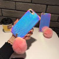兔毛球iphone x手机壳镭射炫光苹果7plus/8/6s保护套毛绒软壳创意