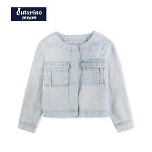 【满100减50】芙瑞诺童装女童春装牛仔短外套韩版中童清新纯棉外套