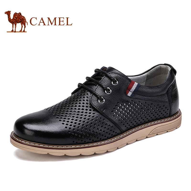 骆驼牌 男鞋 新品镂空透气头层牛皮休闲皮鞋时尚休闲鞋