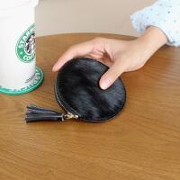 零钱包可爱迷你新款欧美复古马毛零钱包女式迷你圆形拉链钥匙包短硬币包钱包