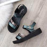 2019新款女士妈妈鞋凉鞋子夏季中年中跟坡跟中老年人女鞋百搭平底