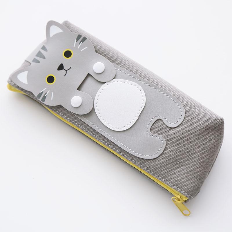笔袋 创意拉链卡通猫咪帆布三角形正方形文具盒小清新送儿童礼物学生