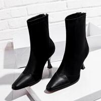 20190923034708922靴子女短靴2019春秋新款瘦瘦弹力单靴中跟细跟马丁靴女韩版袜子靴