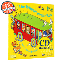 英文原版 公交车的轮子 The Wheels on the Bus: Go Round and Round 含CD