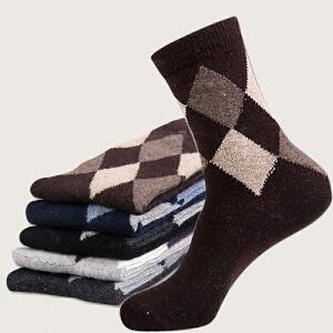 货到付款 Yinbeler 【五双装】加厚保暖兔羊毛中筒男袜 中老年 休闲商务利发国际lifa88菱形款 礼盒