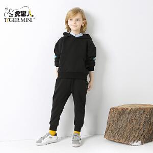 小虎宝儿童装男童运动套装卫衣两件套儿童春秋款纯棉2018春季新款