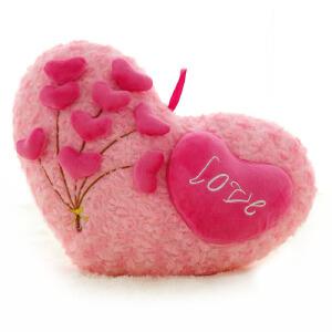 维莱 爱心表白抱枕靠垫情侣抱婚庆礼品意可爱 心形毛绒玩具沙发礼物 爱心树 46*33cm