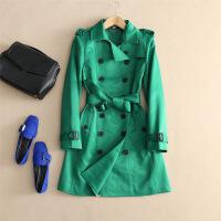 欧洲站女装2018秋冬款绿色经典双排扣风衣女中长款时尚气质外套秋 绿色