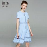 颜域品牌女装2017夏季新款简约花边收腰圆领短袖A型中长款连衣裙