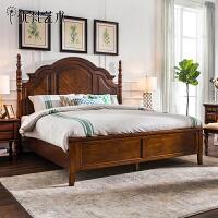 优梵艺术 Rhine美式乡村螺旋弧形大床双人床1.8米卧室家具大户型