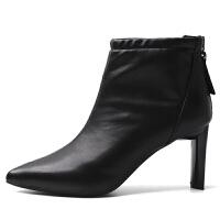 短靴女粗跟2018秋冬季新款韩版百搭及踝靴尖头时尚白色高跟裸靴子