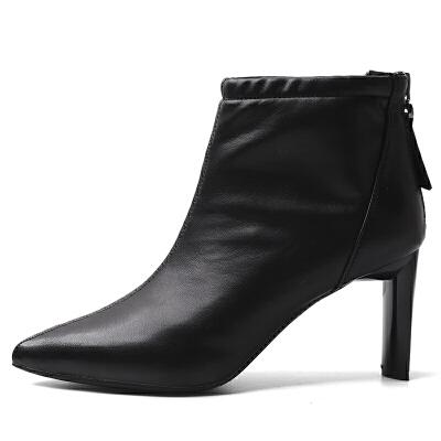 短靴女粗跟2018秋冬季新款韩版百搭及踝靴尖头时尚白色高跟裸靴子 发货周期:一般在付款后2-90天左右发货,具体发货时间请以与客服协商的时间为准