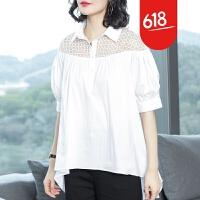 原创经典白色衬衫女2018夏季女装外套纯棉上衣性感蕾丝衫宽松短袖衬衣GH069 白色