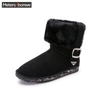 美特斯邦威冬装新款女低筒翻毛搭袢雪地靴286908