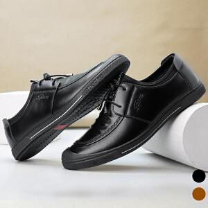 宜驰 EGCHI 休闲鞋男士系带软底耐磨户外商务休闲男皮鞋子20606