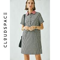 云上生活 2019夏新格纹裙polo领气质中长款连衣裙洋气显瘦裙子女