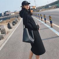 长款卫衣女秋冬加绒加厚过膝连帽2018新款长袖韩版宽松高领卫衣裙