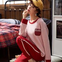 【NJR&秋冬新品】南极人家居服女士纯棉休闲吸湿透气柔软舒适时尚长袖套装KH5436
