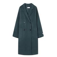 赫本大衣复古少女双面羊绒大衣女士中长款99%呢外套长袖宽松 月光蓝