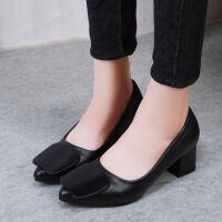 尖头单鞋女高跟鞋女2018新款韩版尖头浅口5cm粗跟中跟工作鞋子女