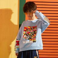 【2件3折:80.7元】小虎宝儿旗舰店儿童加绒卫衣2021秋装新款男童打底衫潮