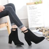 2018新款短靴秋冬季时装靴冬季女鞋韩版百搭单靴粗跟高跟尖头裸靴