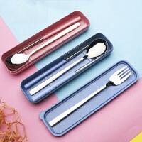 便携餐具创意304不锈钢筷子勺子叉子套装学生三件套筷子盒成人