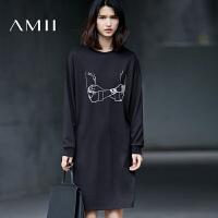 Amii2017秋女个性印花纯棉宽松套头大码连衣裙11770202