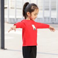 【会员节! 每满100减50】amii童装2017秋新款女童长袖T恤中大童儿童女休闲上衣印花打底衫