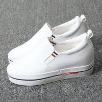 布鞋厚底鞋黑白色一脚套懒人鞋帆布鞋女鞋内增高韩版休闲鞋小白鞋