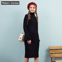美特斯邦威毛衣裙女士长款文艺高领喇叭袖显瘦毛衫冬装新款