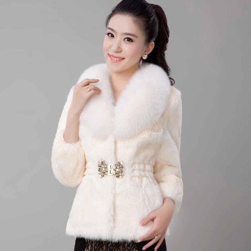 新品修身韩版冬季女装仿獭兔毛仿皮草外套女短款仿狐狸毛毛领 米 XX