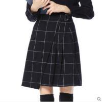 潮流个性时尚百搭短裙女士加厚羊毛呢子格子a字半身裙