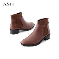 【AMII女装联合,跨店2件5折】Amii[极简主义]简洁帅气松紧带牛皮靴子女冬季橡胶底切尔西短靴