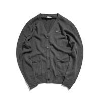 BDCT自制 日系复古纯色针织开衫男 秋季薄款青年修身V领毛衣外套