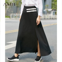 Amii[极简主义] 2017夏装新款直筒皮扣拉链高开衩半身裙11792831