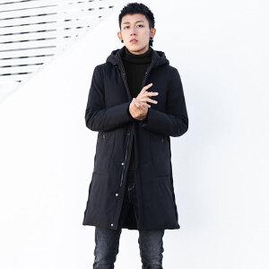 男士中长款羽绒服优质白鸭绒内里加厚时尚青年男款保暖冬装连帽外套羽绒衣男